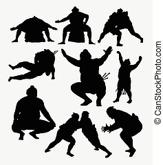 Sumo sport silhouettes