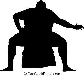 Sumo wrestler - Abstract vector illustration of sumo...