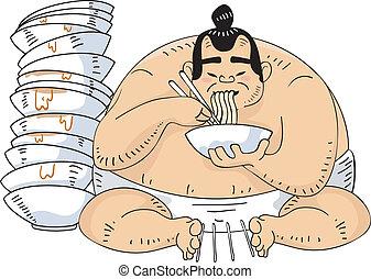 Sumo Wrestler Ramen - Illustration of a Sumo Wrestler...