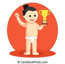 sumo wrestler with trophy