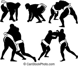 sumo, wrestlers, silhouettes
