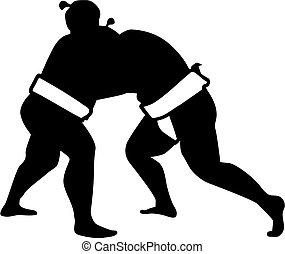 Sumo wrestling fight silhouette