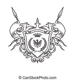 Sumptuous coat of arms, embossed heraldic shield, medieval royal emblem, ancestral symbol, engraved style imperial sign, vector