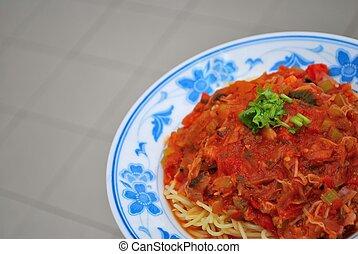 Sumptuous looking spaghetti - Close up shot of sumptuous...