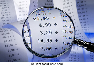 Sums on a billing - Magnifier showing sums on a billing