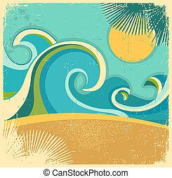 sun., 結構, retro, 紙, 老, 背景, 海, 波浪, 矢量, 海報, 葡萄酒, 自然