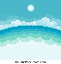 sun., 青い背景, 海, イラスト, ベクトル, 海景, 自然