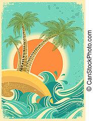 sun., 직물, retro, 종이, 늙은, 배경, 바다, 파도, 벡터, 포스터, 포도 수확, 자연