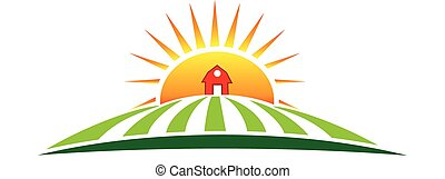 Sun agriculture landscape and farm harvest label icon vector logo