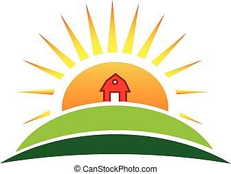 Sun agriculture landscape and farm harvest label icon vector logo