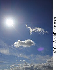 sun and autumn clouds with blue sky
