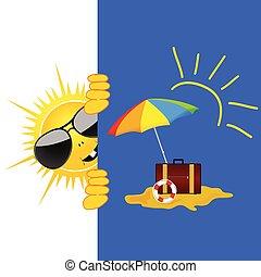 sun and beach art vector illustration