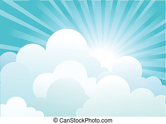 Sun and blue sky with beautiful clouds. Vector image