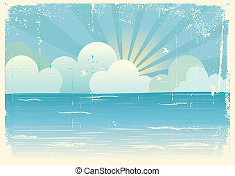 Sun and blue sky with beautifull clouds. Vector image
