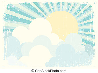 Sun and blue sky with beautifull clouds. Vintage vector image