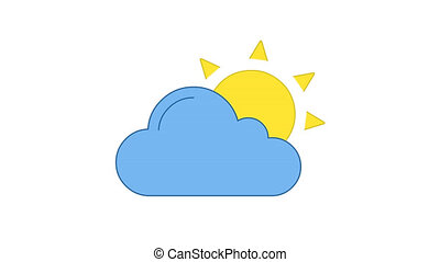 Sun and cloud blue and yellow line art vector animation. Sunshine and cloudy weather forecast, meteorology simple contour icon video. Sunny and hot day overcast motion graphics