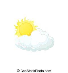 Sun and cloud icon, cartoon style