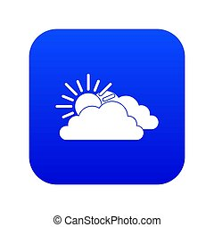 Sun and cloud icon digital blue