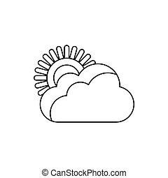 Sun and cloud icon, outline style