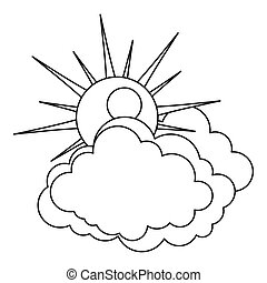 Sun and cloud icon, outline style.