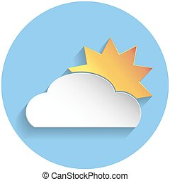 Sun and cloud icon, paper style