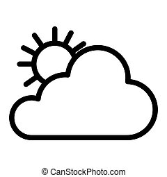 Sun and cloud line icon. Bright weather vector illustration isolated on white. Sunny outline style design, designed for web and app. Eps 10.