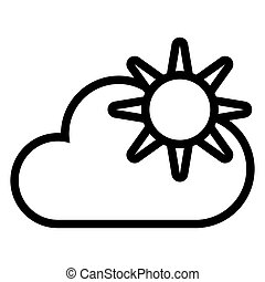 Sun and cloud line icon. Weather vector illustration isolated on white. Sunshine outline style design, designed for web and app. Eps 10.