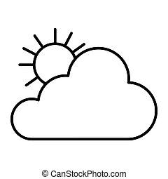 Sun and cloud thin line icon. Bright weather vector illustration isolated on white. Sunny outline style design, designed for web and app. Eps 10.