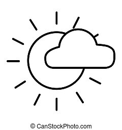 Sun and cloud vector icon isolated on white. Flat and outline style. Eps 10