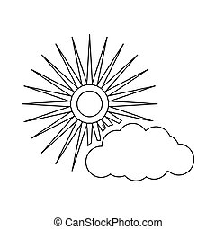 Sun and cloud weather icon, outline style
