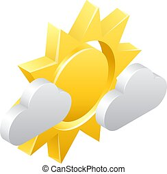 Sun and Clouds 3d Weather Icon Concept