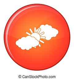 Sun and clouds icon, flat style