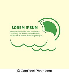 Sun and clouds icons with lorem ipsum text.eps - Sun and...