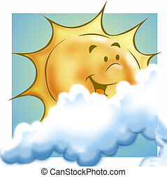 Sun and clouds - Sun, smilling, with clouds