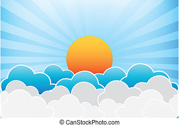 Sun And Clouds Vector Illustration