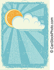 Sun and clouds. Vector vintage card on old paper texture