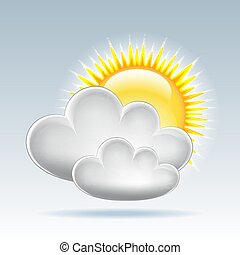Sun and clouds weather web icon. Vector