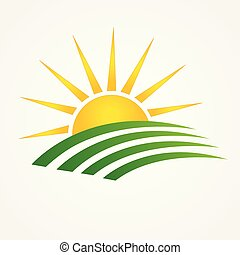 Sun and green agriculture cultives swooshes logo