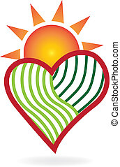 Sun and green agriculture love heart logo