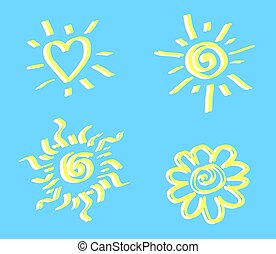 Sun and heart on a blue background. Element.