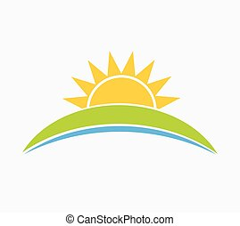 Sun and hill landscape symbol