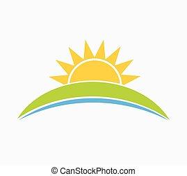 Sun and hill landscape symbol