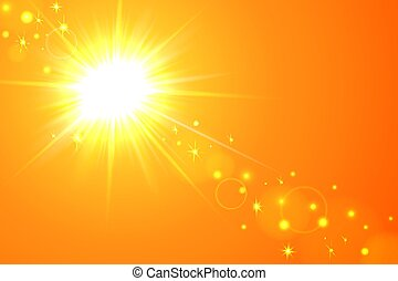 Sun and lens flare yellow background
