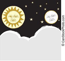 Sun and Moon #2 - Sun and moon in the sky together with ...