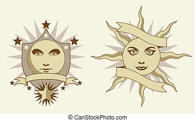 Sun and moon banners in olde time style