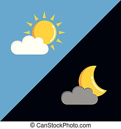 sun and moon in cloudy sky day and night
