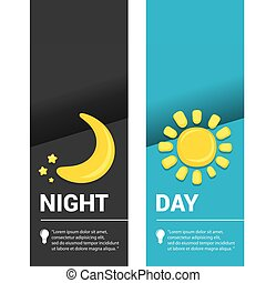 Sun and moon in sky, day and night. Vector