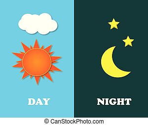 Sun and moon in sky, day and night. Vector - Illustration