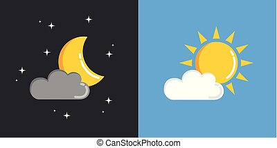 sun and moon in sky day and night