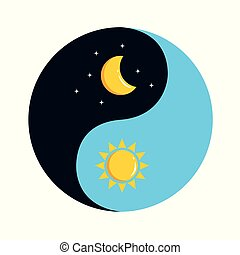 sun and moon in sky yin and yang day and night